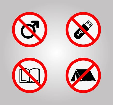 Prohibition Signs and Various warning sign icon Symbol Sign Isolate on White Background Ilustração
