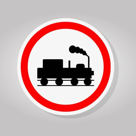 Train Railroad Traffic Road Sign Isolate On White Background,Vector Illustration Ilustração