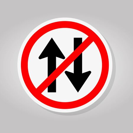 Forbid Two Way Traffic Road Sign Isolate On White Background,Vector Illustration Ilustração
