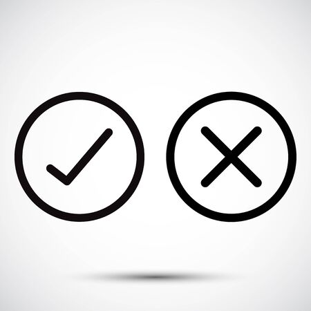 Check Mark  Check,Or Approve & Deny Line art Icon on White Background