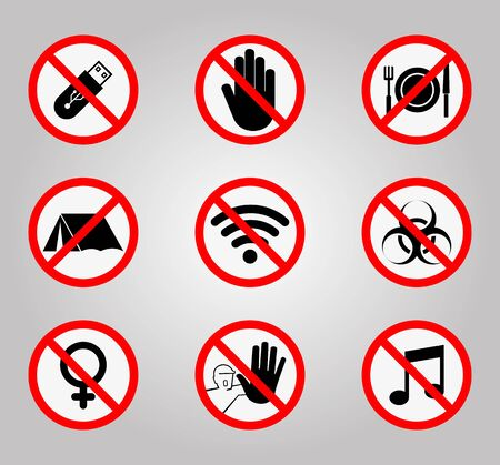 Prohibition Signs and Various warning sign icon Symbol Sign Isolate on White Background,Vector Illustration Ilustração