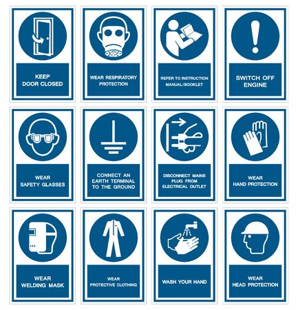 Safety PPE Must Be Worn Sign Isolate On White Background,Vector Illustration