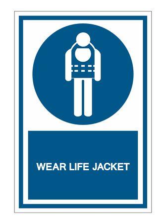 Symbol Wear Life Jacket Isolate On White Background,Vector Illustration