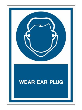Symbol Wear Ear Plug Sign Isolate On White Background,Vector Illustration Stok Fotoğraf - 129619259