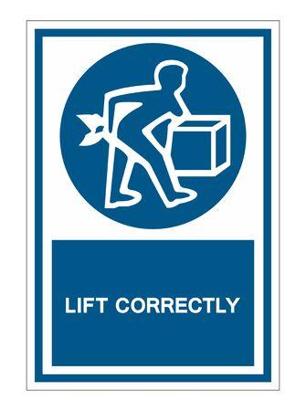 PPE Icon.Lift Correctly Symbol Sign Isolate On White Background,Vector Illustration