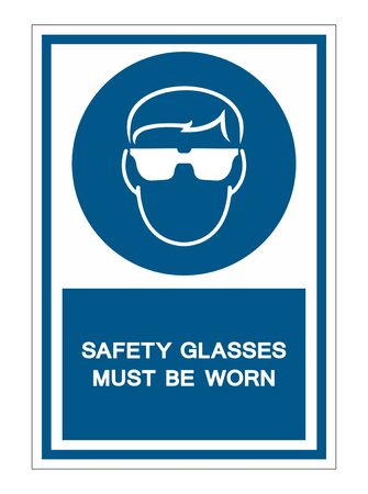 Safety Glasses Must Be Worn Symbol Sign Isolate on White Background,Vector Illustration Ilustrace