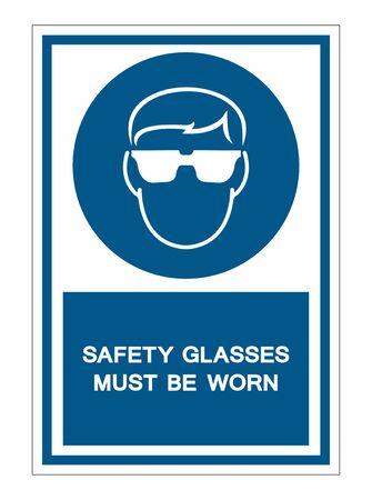 Schutzbrille getragen werden Symbol Zeichen auf weißem Hintergrund, Vektor-Illustration isolieren