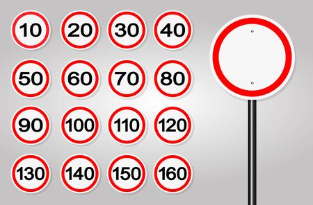 Speed Limit Signs Set Isolate On White Background,Vector Illustration