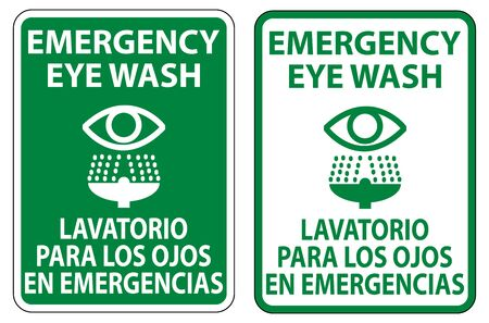 Bilingual Emergency Eye Wash Sign Isolate On White Background,Vector Illustration