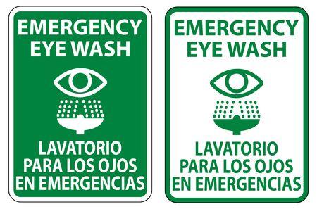Bilingual Emergency Eye Wash Sign Isolate On White Background,Vector Illustration