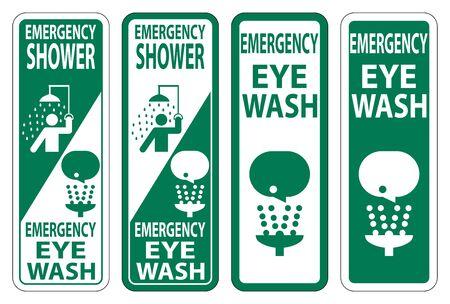 Emergency Shower,Eye Wash Sign Isolate On White Background,Vector Illustration