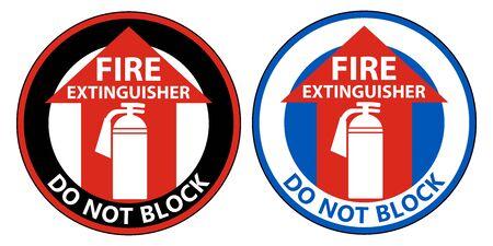 Fire Extinguisher Do Not Block Floor Sign on white background  Illusztráció