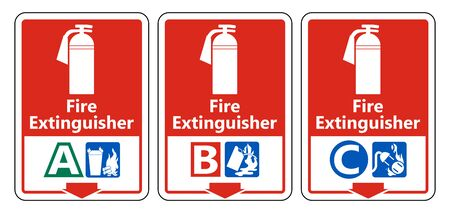 Symbol Fire Extinguisher A B C Sign on white background