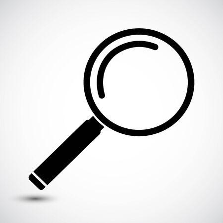 Icona lente di ingrandimento su sfondo bianco