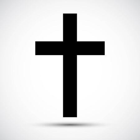 Signo de símbolo de icono de cruz cristiana aislado sobre fondo blanco, ilustración vectorial EPS.10 Ilustración de vector