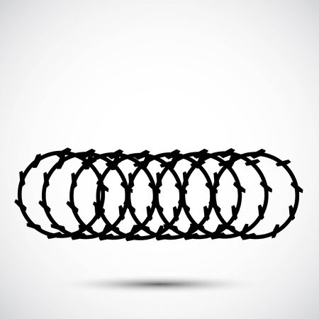 Barbed Wire Black Icon Isolated On White Background Ilustrace