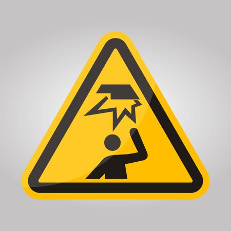 Beware Overhead Obstacles Symbol Isolate On White Background,Vector Illustration Illustration