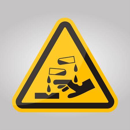 Beware Corrosive Substance Symbol Isolate On White Background,Vector Illustration EPS.10 Ilustrace