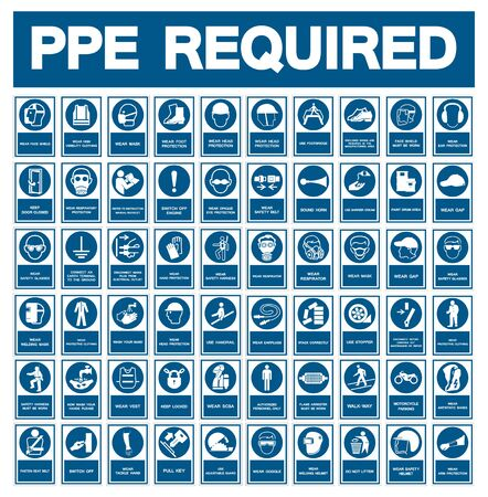Required Personal Protective Equipment (PPE) Symbol,Safety Icon 免版税图像 - 129945418