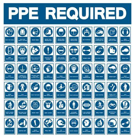Simbolo dei dispositivi di protezione individuale (DPI) richiesti, icona di sicurezza