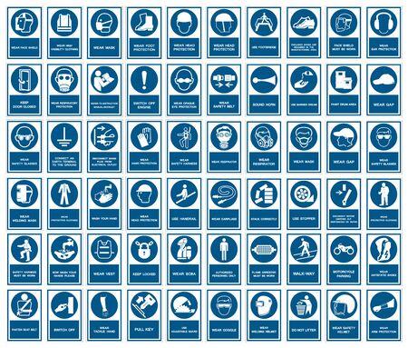 I DPI di sicurezza devono essere indossati segno isolato su sfondo bianco, illustrazione vettoriale EPS.10