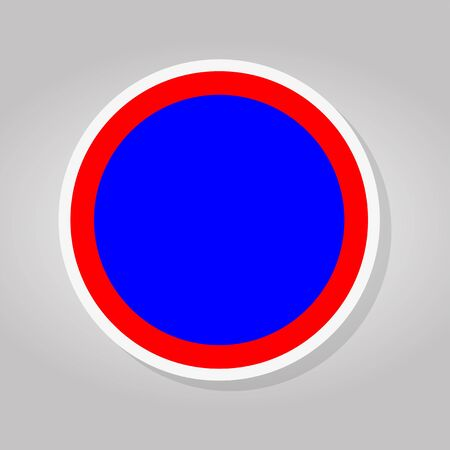Stop Blue Red Circle Sign Isolate On White Background,Vector Illustration