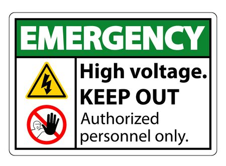 Emergency High Voltage Keep Out Sign Isolate On White Background,Vector Illustration EPS.10