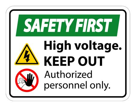 Safety first High Voltage Keep Out Sign Isolate On White Background,Vector Illustration EPS.10 写真素材 - 129945526