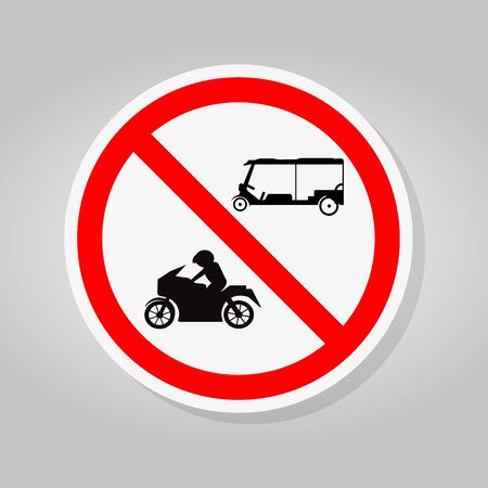 No Tuk Tuk Thailand Or Rickshaw Three Wheeled Tricycle,Motorcycles,Traffic Sign Isolate On White Background,Vector Illustration
