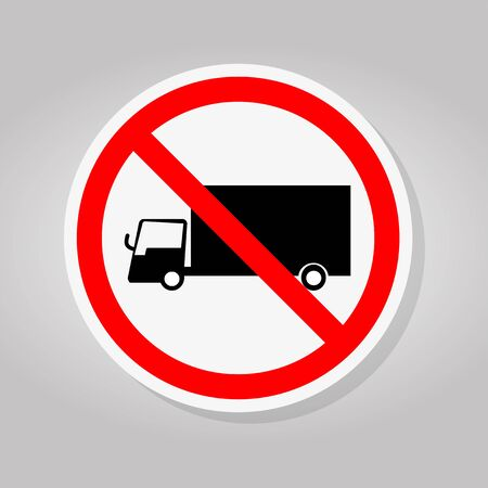 Prohibit Truck Traffic Road Sign Isolate On White Background,Vector Illustration