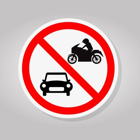 Prohibit Car and Motorcycle Symbol Sign Isolate On White Background,Vector Illustration