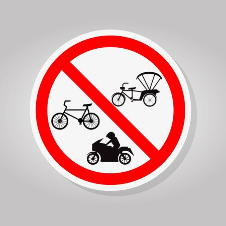 Prohibit Bicycle, Tricycle and Motorcycle Sign Isolate On White Background,Vector Illustration Иллюстрация