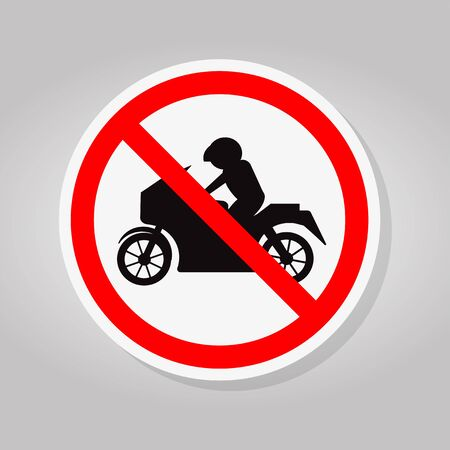Prohibit Motorcycle Sign Isolate On White Background,Vector Illustration