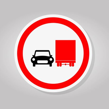 Prohibit Truck Do Not Overtake Traffic Road Sing Isolate On White Background,Vector Illustration Иллюстрация
