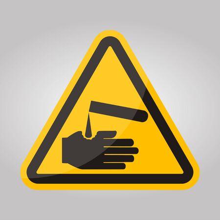 Beware Corrosives Symbol Isolate On White Background,Vector Illustration EPS.10  イラスト・ベクター素材