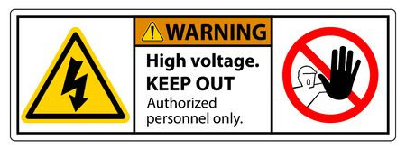 Caution High Voltage Keep Out Sign Isolate On White Background,Vector Illustration