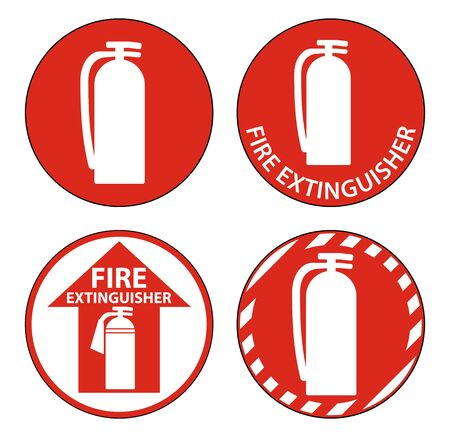 Fire Extinguisher Symbol Floor Sign on white background Фото со стока - 130674137