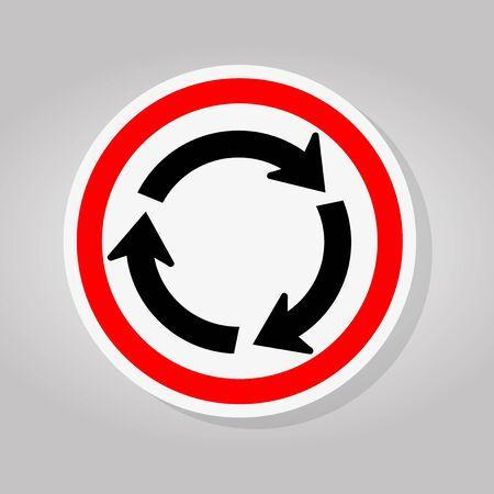 Roundabout Traffic Road Sign Isolate On White Background,Vector Illustration Stock Illustratie
