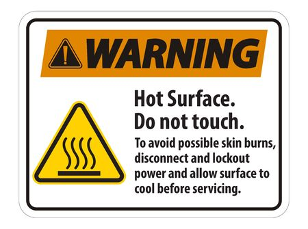 Hot Surface, Do Not Touch, To Avoid Possible Skin Burns, Disconnect And Lockout Power And Allow Surface To Cool Before Servicing Symbol Sign Isolate On White Background,Vector Illustration Illustration