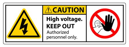 Caution High Voltage Keep Out Sign Isolate On White Background,Vector Illustration EPS.10