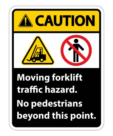 Moving forklift traffic hazard,No pedestrians beyond this point,Symbol Sign Isolate on White Background,Vector Illustration