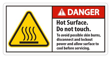 Hot Surface, Do Not Touch, To Avoid Possible Skin Burns, Disconnect And Lockout Power And Allow Surface To Cool Before Servicing Symbol Sign Isolate On White Background,Vector Illustration