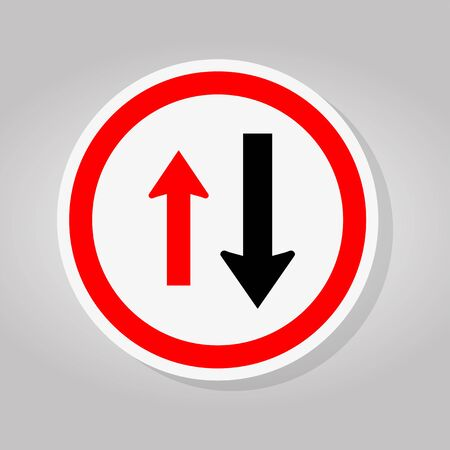Two Way Traffic Sign,Approaching Cars Have Right Of Way Sign Isolate On White Background,Vector Illustration Vetores