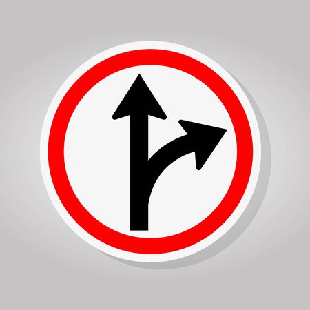 Proceed Straight Or Turn Right Road Sign Isolate On White Background,Vector Illustration 일러스트