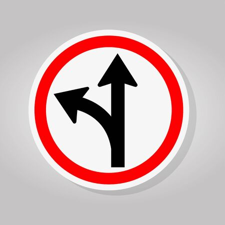 Proceed Straight Or Turn Left Road Sign Isolate On White Background,Vector Illustration