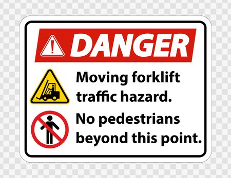 Moving forklift traffic hazard,No pedestrians beyond this point,Symbol Sign Isolate on transparent Background,Vector Illustration  Иллюстрация