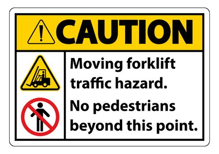 Moving forklift traffic hazard,No pedestrians beyond this point,Symbol Sign Isolate on White Background,Vector Illustration  Иллюстрация