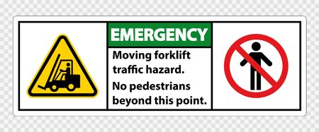 Moving forklift traffic hazard,No pedestrians beyond this point,Symbol Sign Isolate on transparent Background,Vector Illustration  Vectores