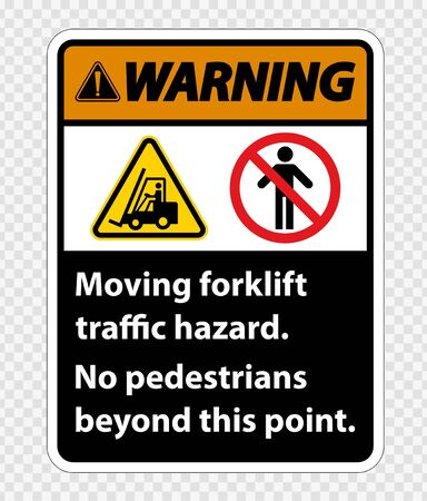 Moving forklift traffic hazard,No pedestrians beyond this point,Symbol Sign Isolate on transparent Background,Vector Illustration