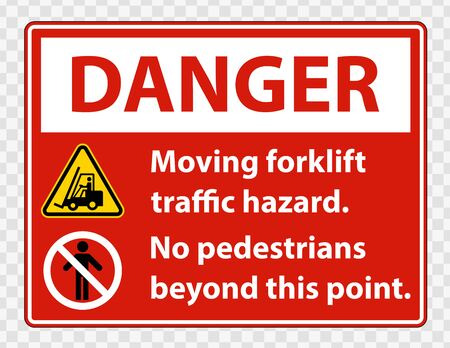 Moving forklift traffic hazard,No pedestrians beyond this point,Symbol Sign Isolate on transparent Background,Vector Illustration Vettoriali